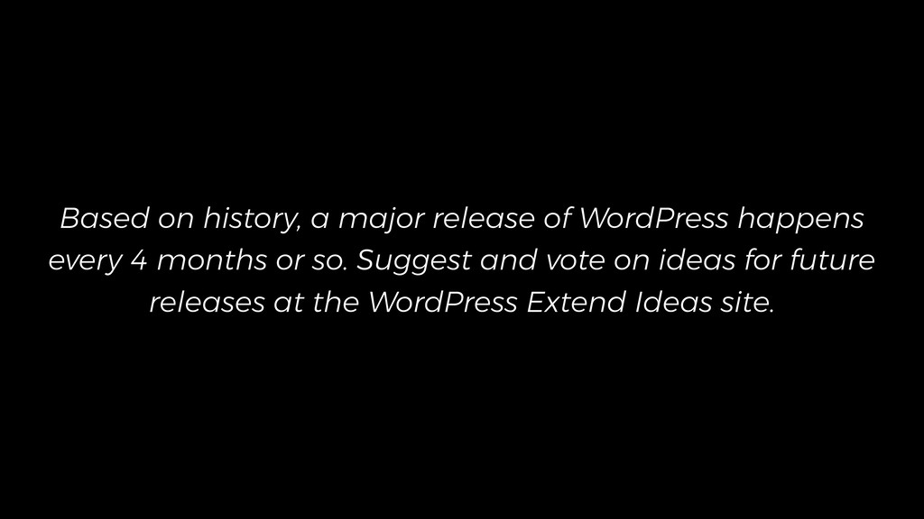 Based on history, a major release of WordPress ...