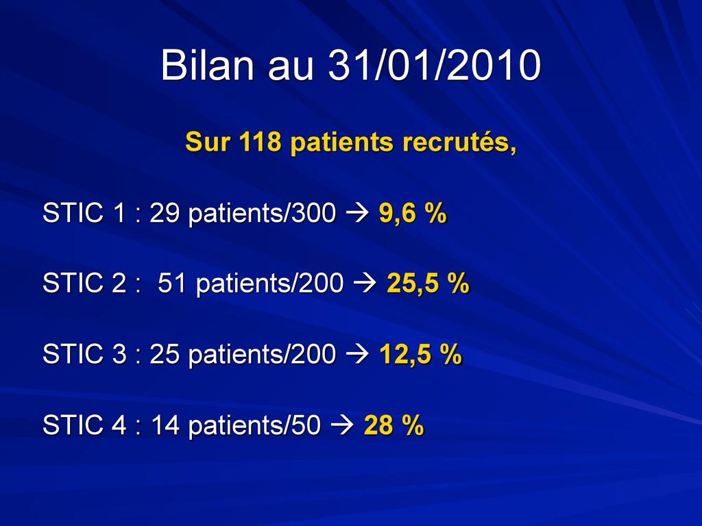 Bilan au 31/01/2010 Sur 118 patients recrutés, ...