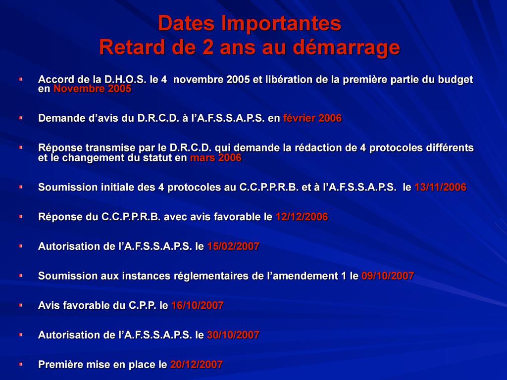 Dates Importantes Retard de 2 ans au démarrage ...