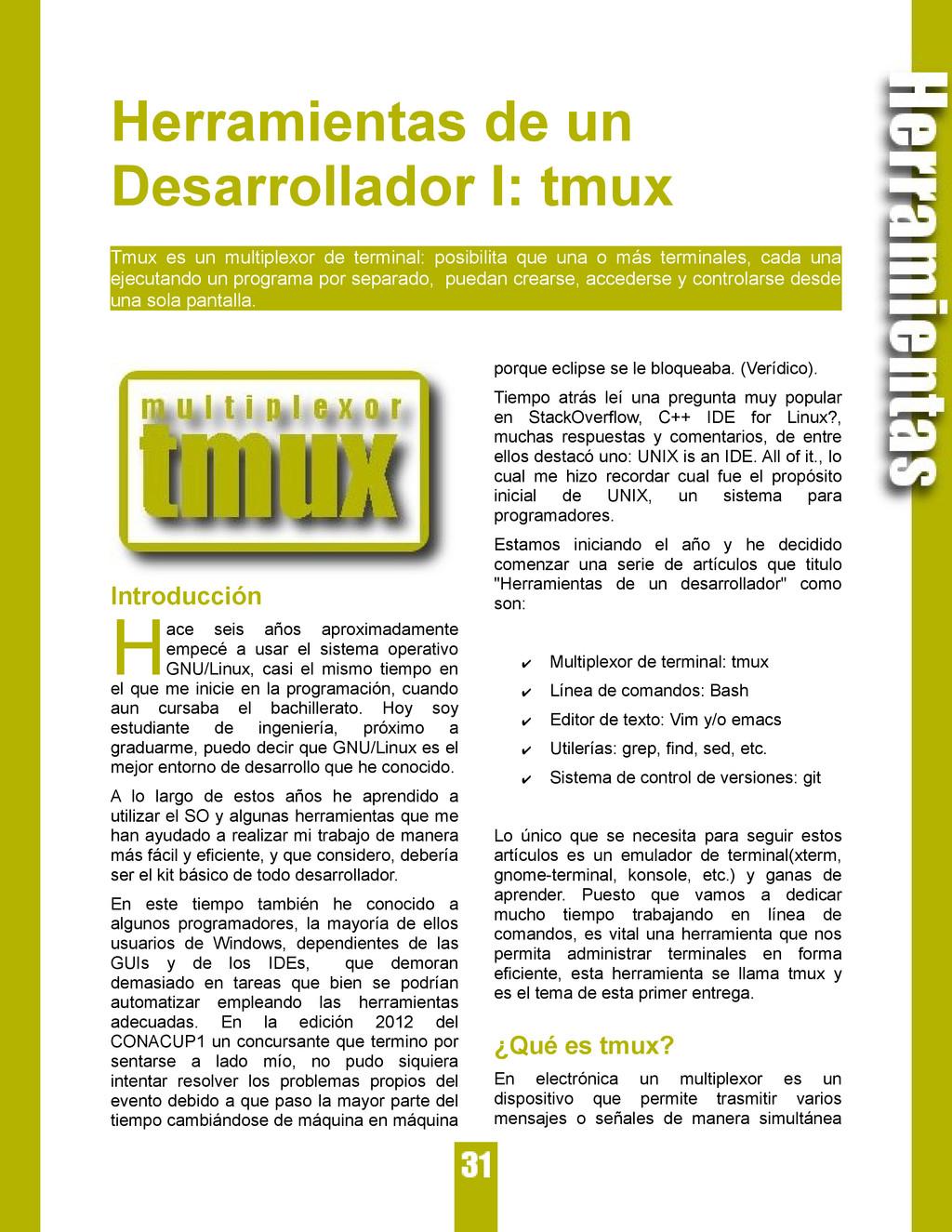 Herramientas de un Desarrollador I: tmux Tmux e...