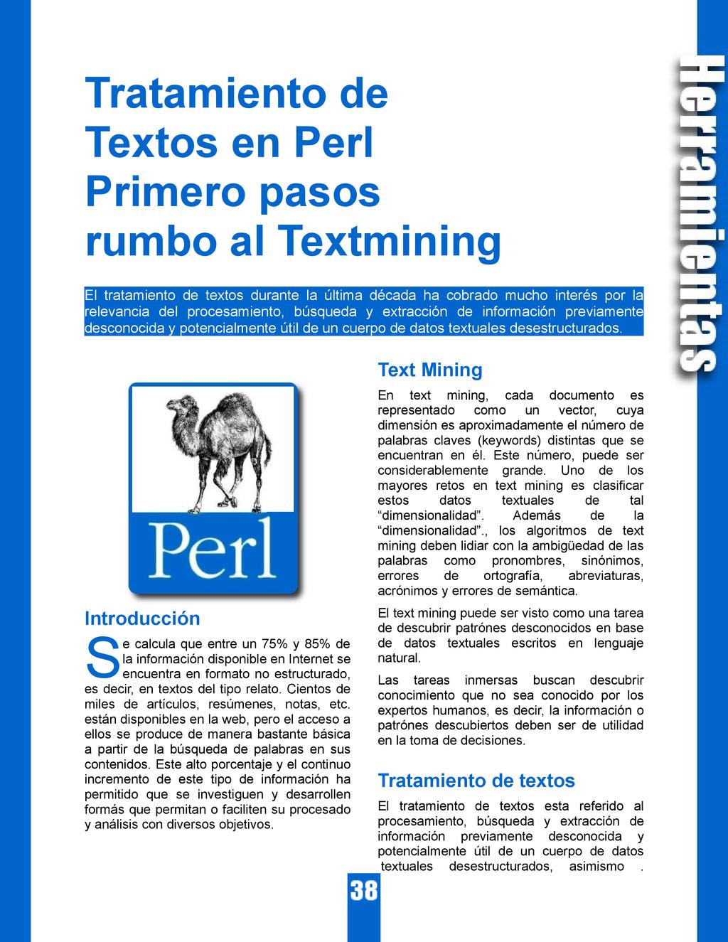Tratamiento de Textos en Perl Primero pasos rum...