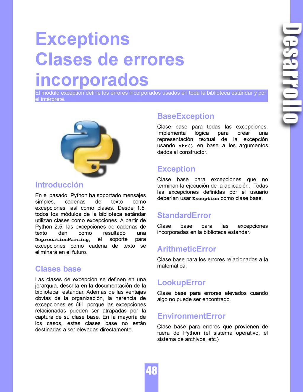 Exceptions Clases de errores incorporados El mó...