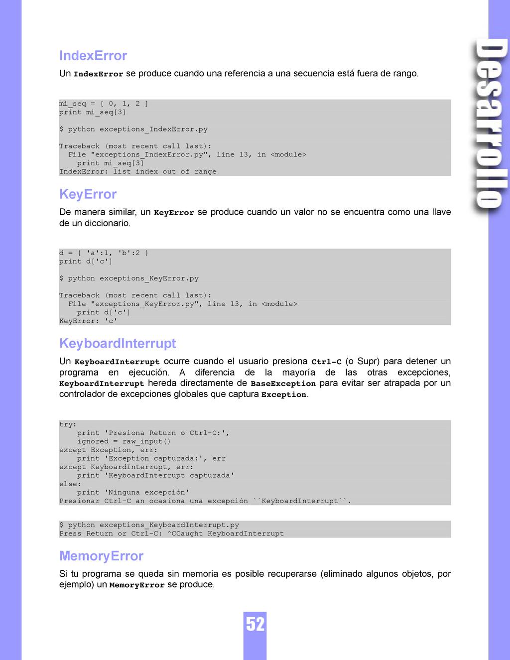 IndexError Un IndexError se produce cuando una ...