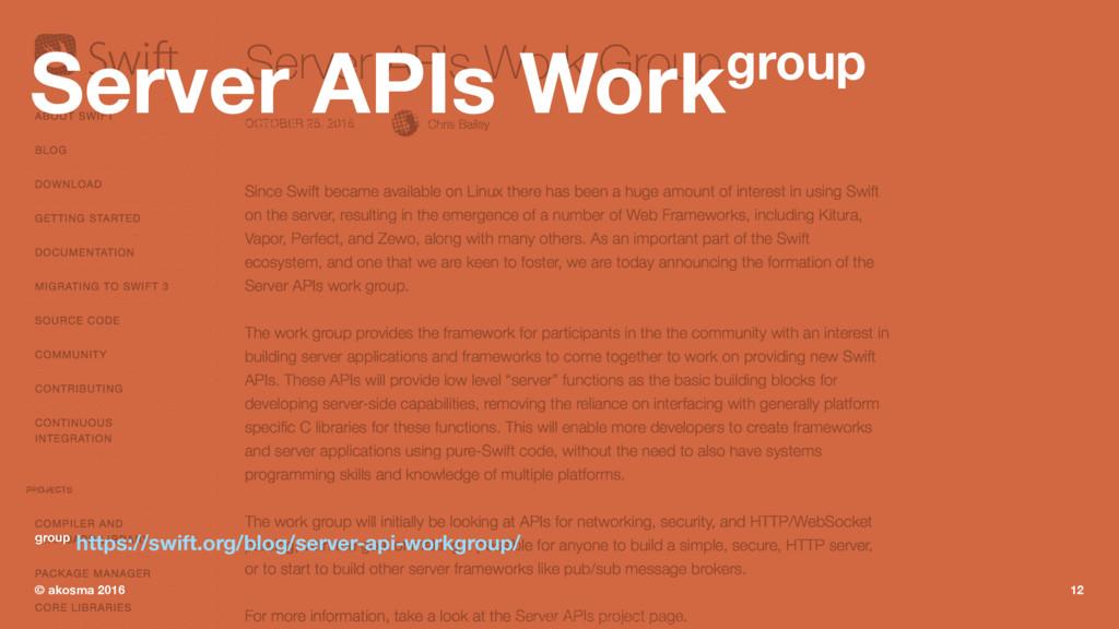 Server APIs Workgroup group https://swift.org/b...
