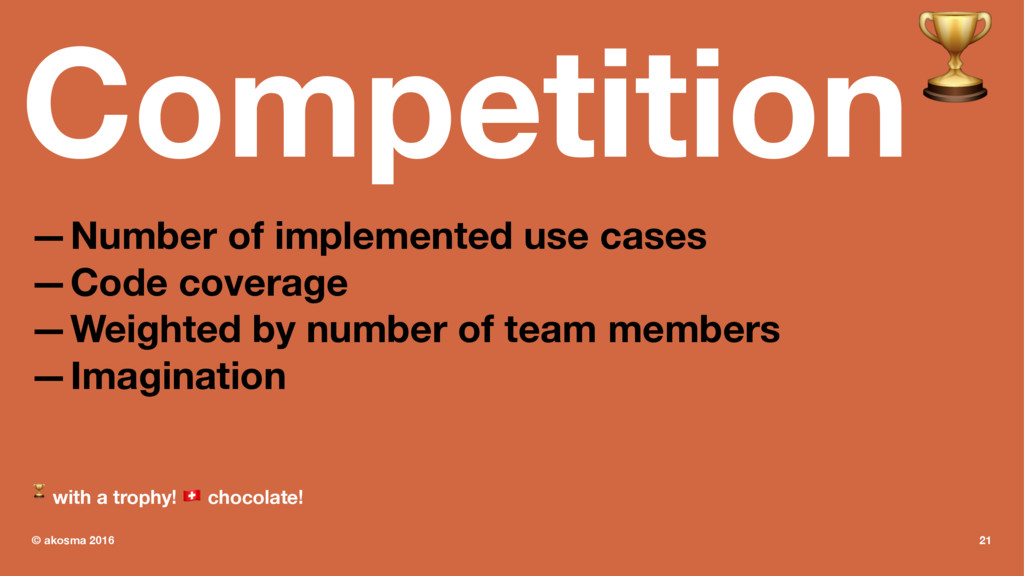 Competition! —Number of implemented use cases —...
