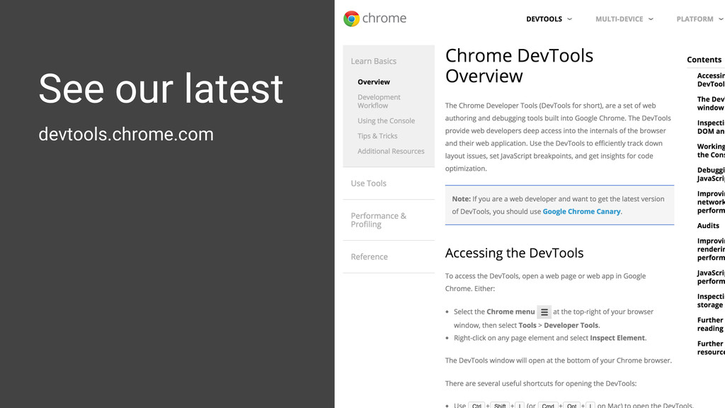 devtools.chrome.com See our latest