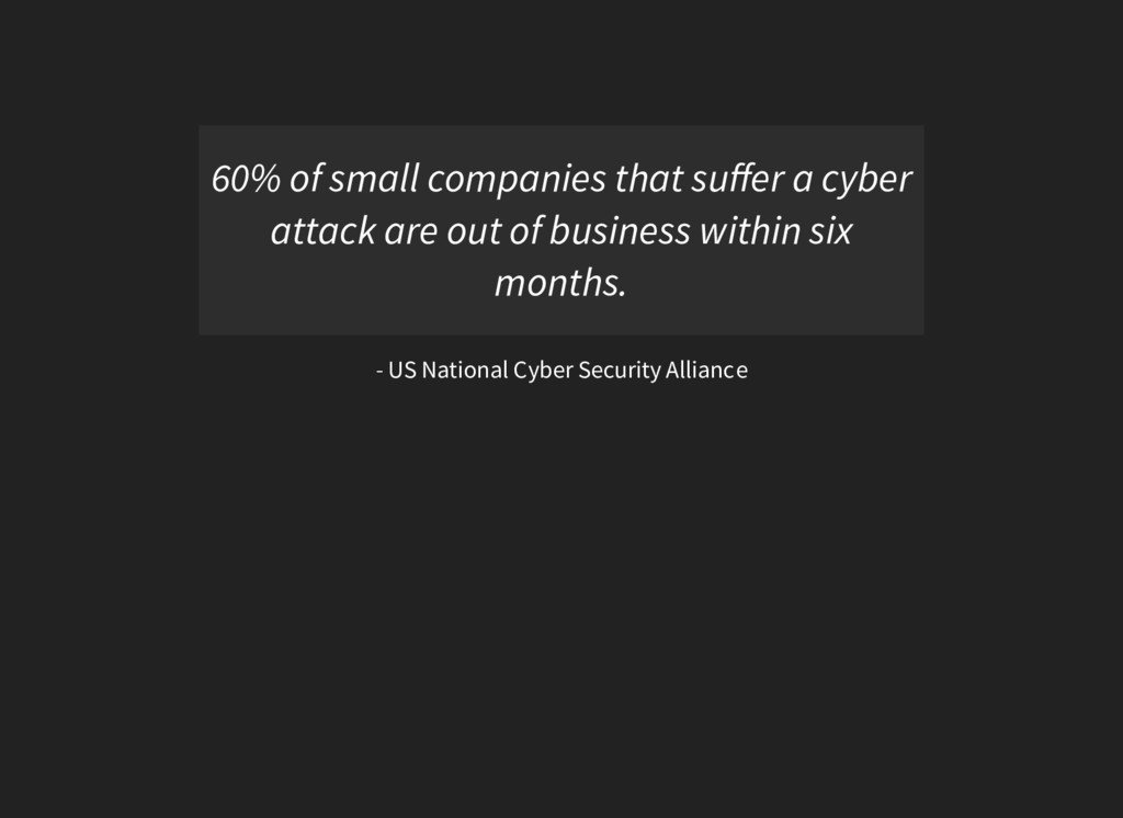 60% of small companies that suffer a cyber attac...