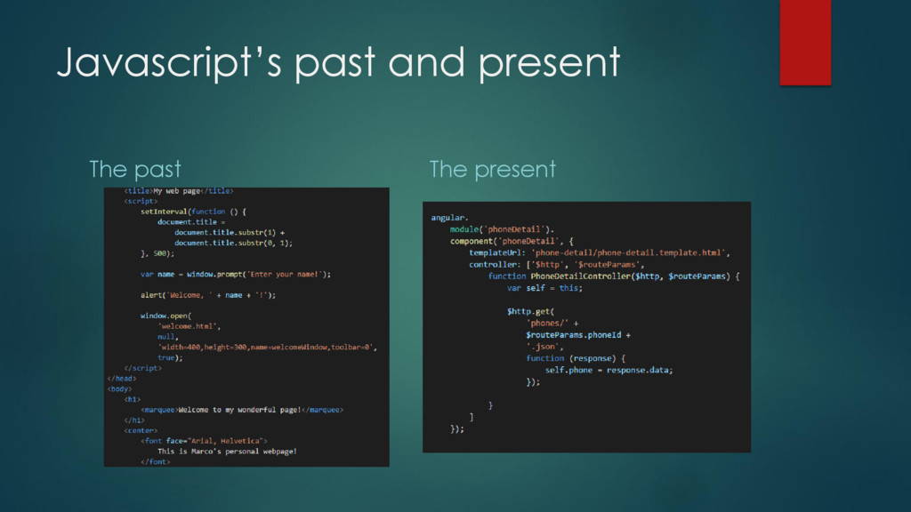 Javascript's past and present The past The pres...