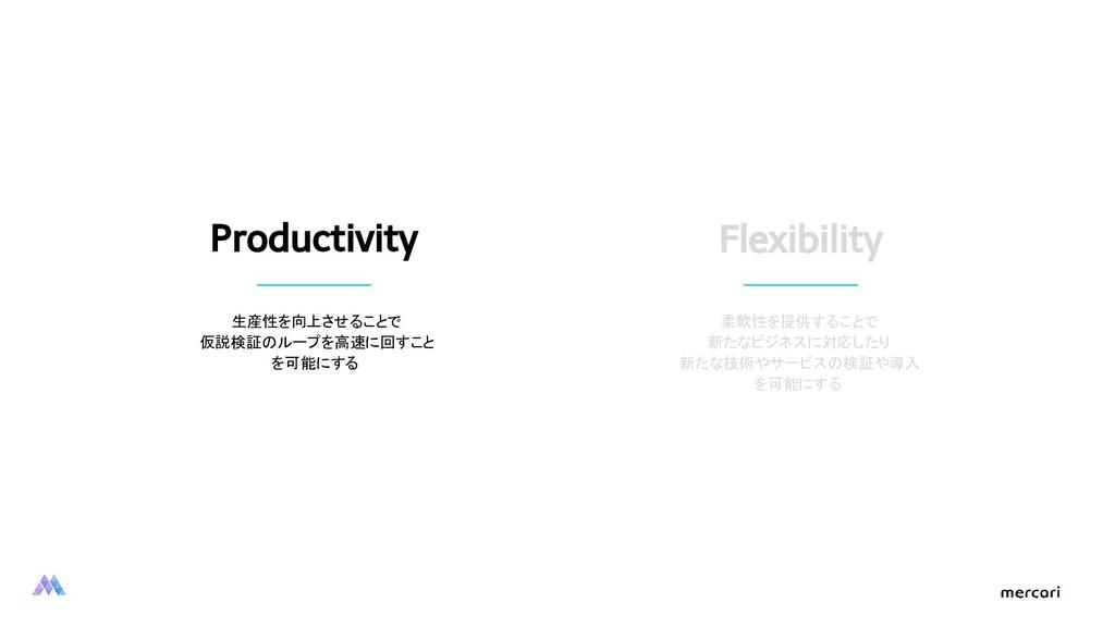 Productivity 生産性を向上させることで 仮説検証のループを高速に回すこと を可能に...