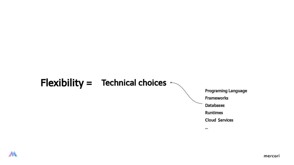 Flexibility = Technical choices Programing Lang...