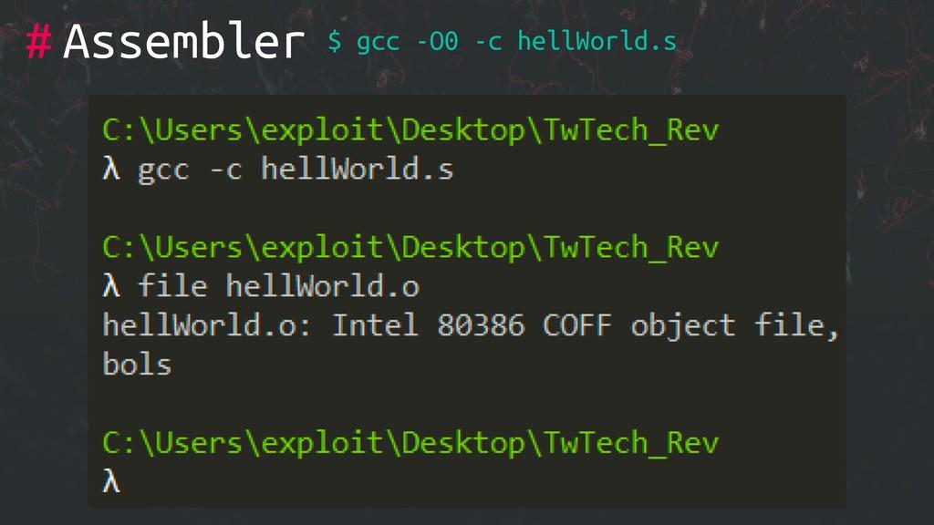 # $ gcc -O0 -c hellWorld.s Assembler