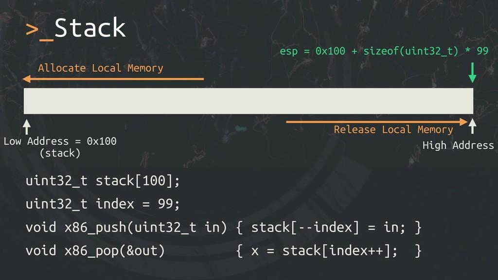 >_Stack uint32_t stack[100]; uint32_t index = 9...