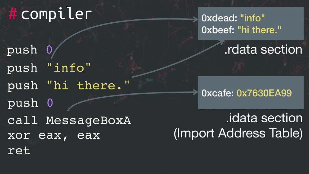 "# xor eax, eax ret push 0 push ""info"" push ""hi ..."