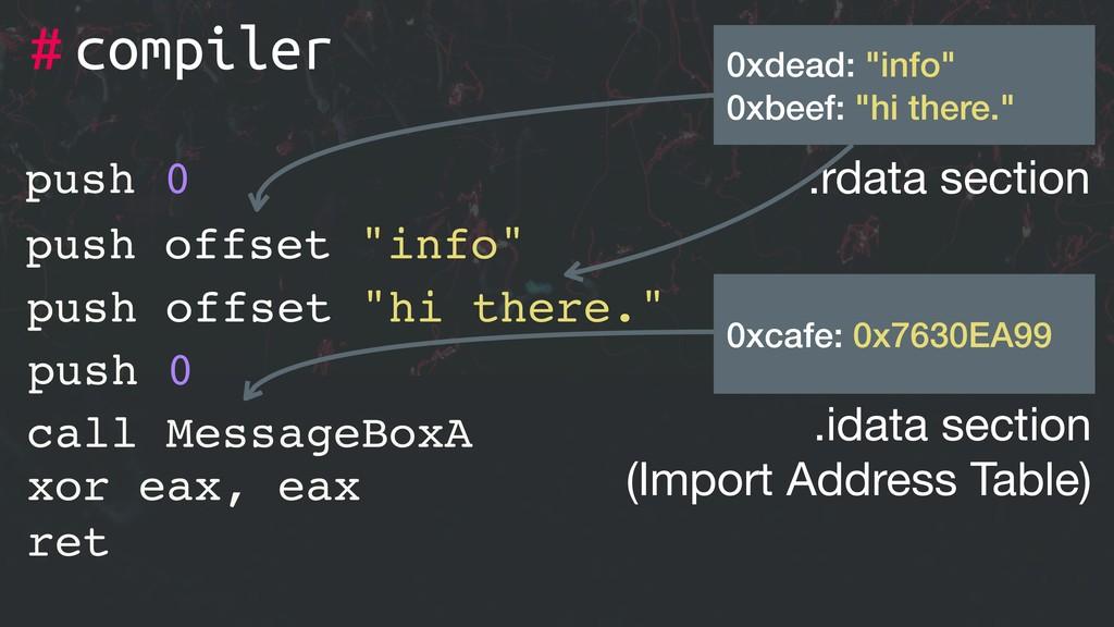"# xor eax, eax ret push 0 push offset ""info"" pu..."