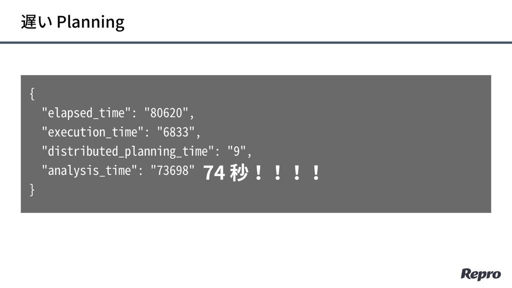 """遅い Planning { """"elapsed_time"""": """"80620"""", """"executi..."""