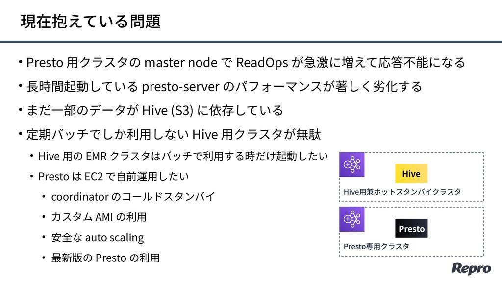• Presto ⽤クラスタの master node で ReadOps が急激に増えて応答...