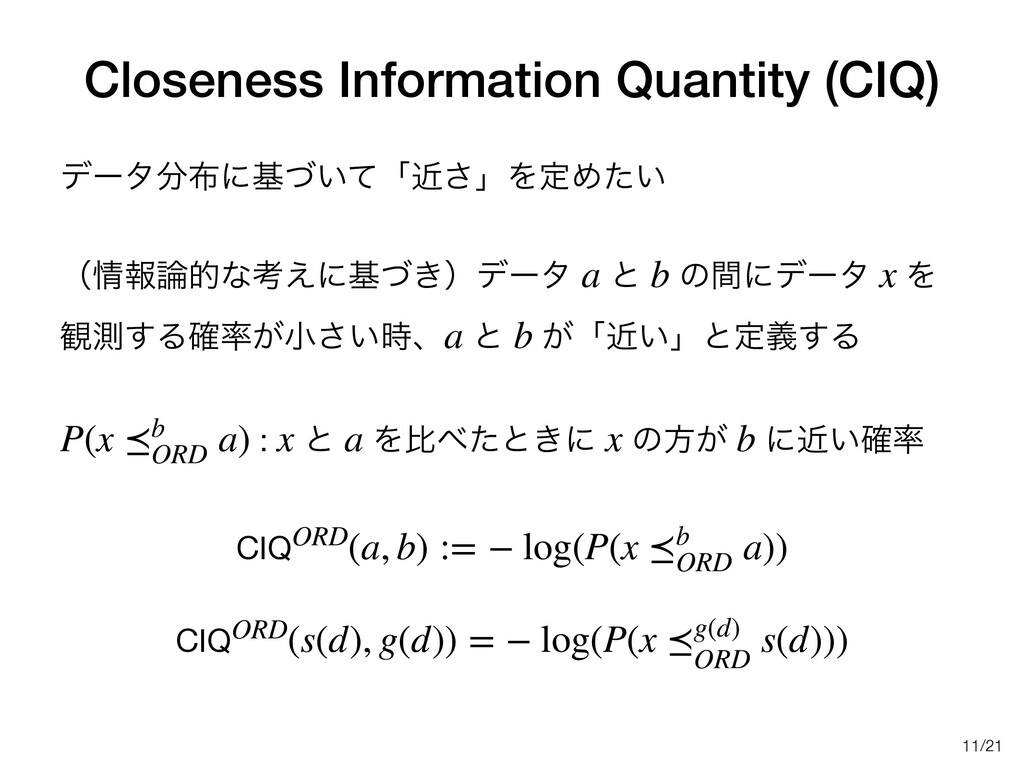 /21 Closeness Information Quantity (CIQ) σʔλʹ...