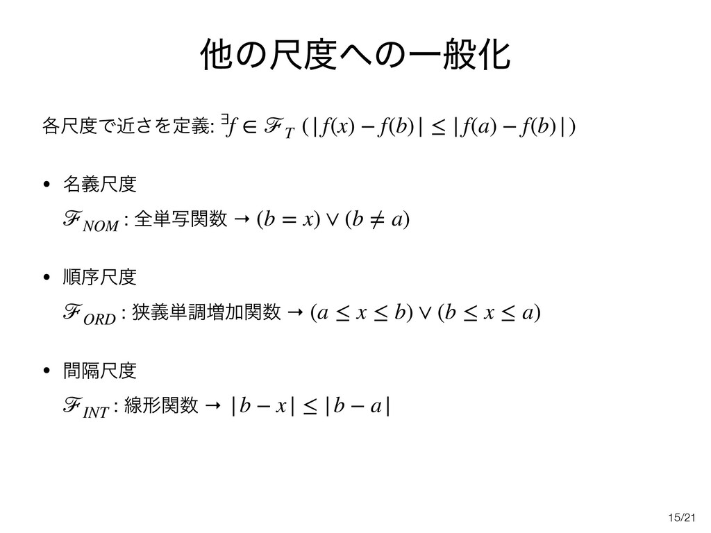 /21 ଞͷईͷҰൠԽ ֤ईͰۙ͞Λఆٛ:   • ໊ٛई : શ୯ࣸؔ →   ...