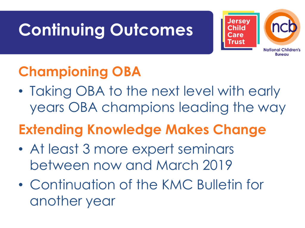 Continuing Outcomes Championing OBA • Taking OB...