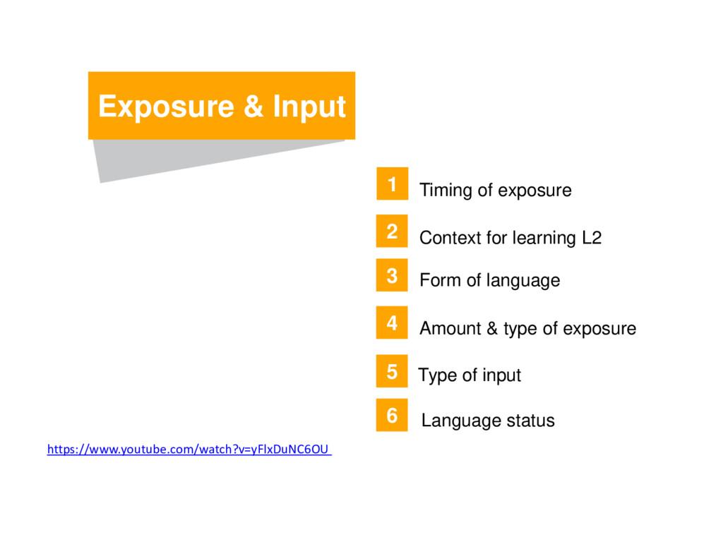 Exposure & Input Amount & type of exposure 3 4 ...