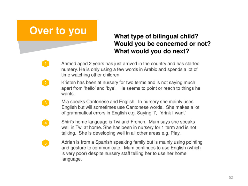 52 Over to you What type of bilingual child? Wo...