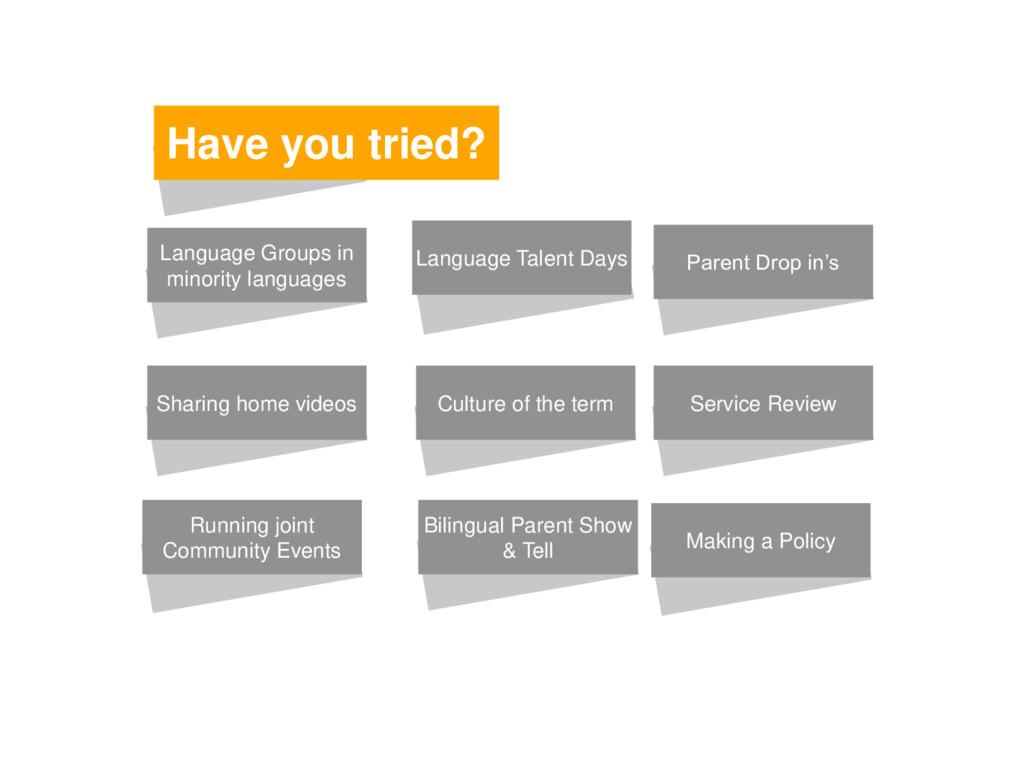 Have you tried? Language Groups in minority lan...