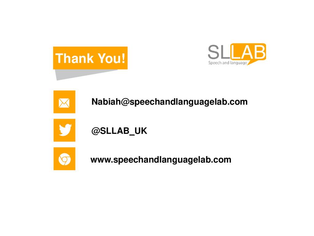Thank You! Nabiah@speechandlanguagelab.com @SLL...