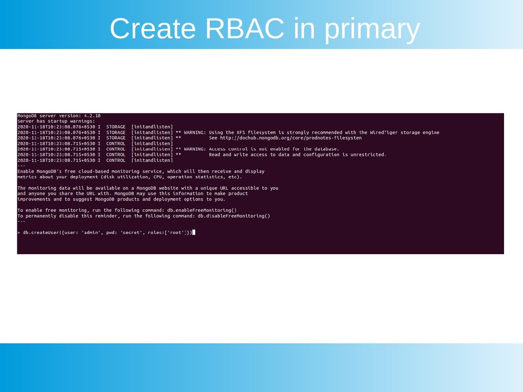 Create RBAC in primary