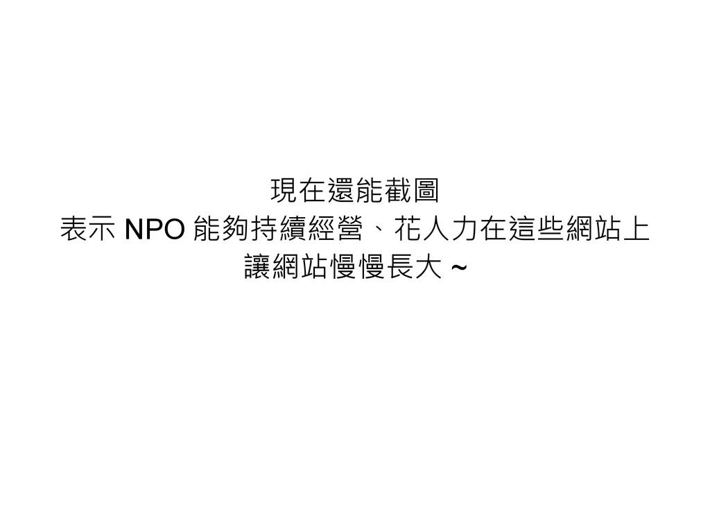 現在還能截圖 表示 NPO 能夠持續經營、花人力在這些網站上 讓網站慢慢長大 ~