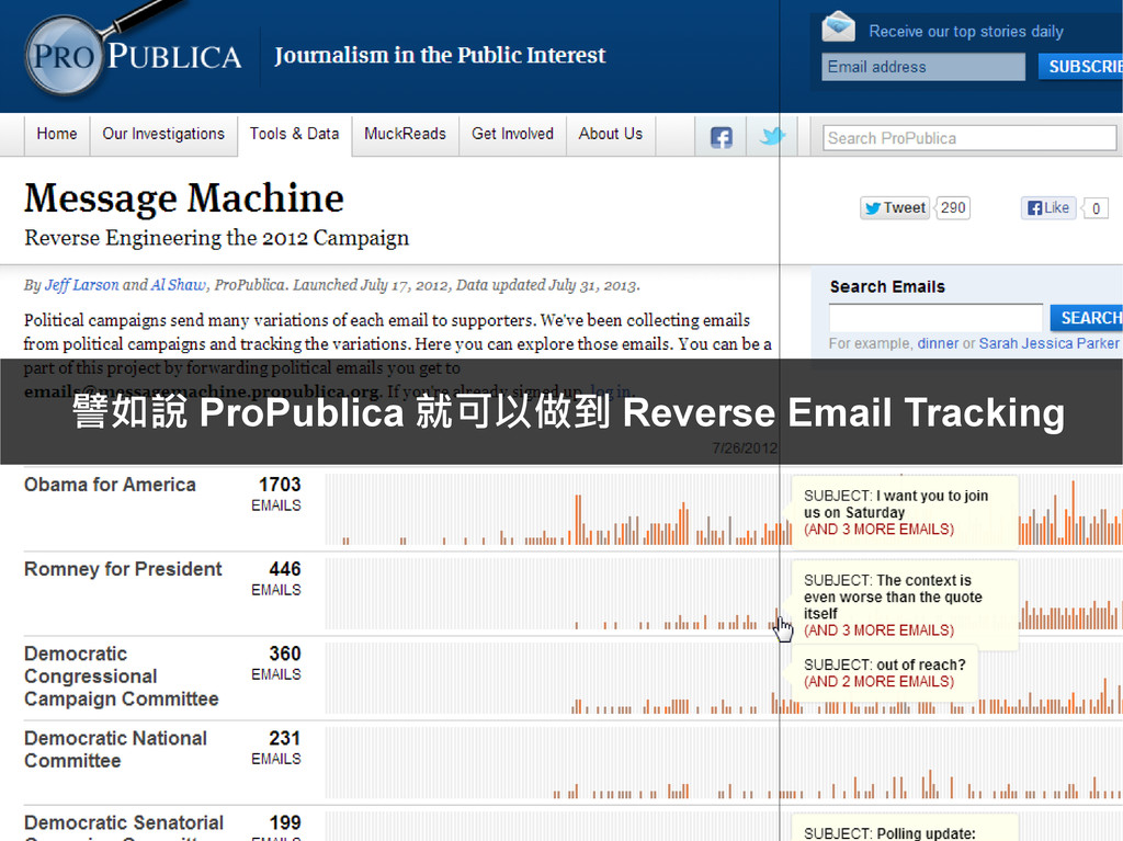 譬如說 ProPublica 就可以做到 Reverse Email Tracking