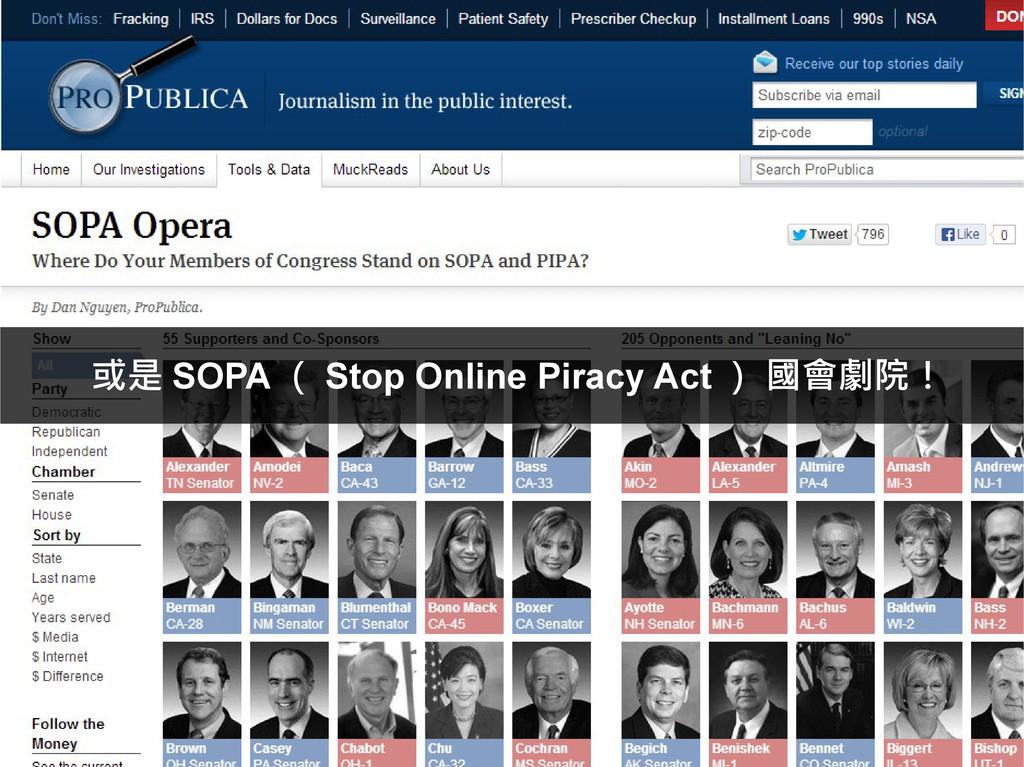或是 SOPA ( Stop Online Piracy Act ) 國會劇院!