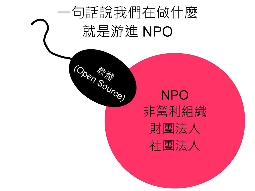 NPO 非營利組織 財團法人 社團法人 軟 體 (Open Source) 一句話說我們在做什...