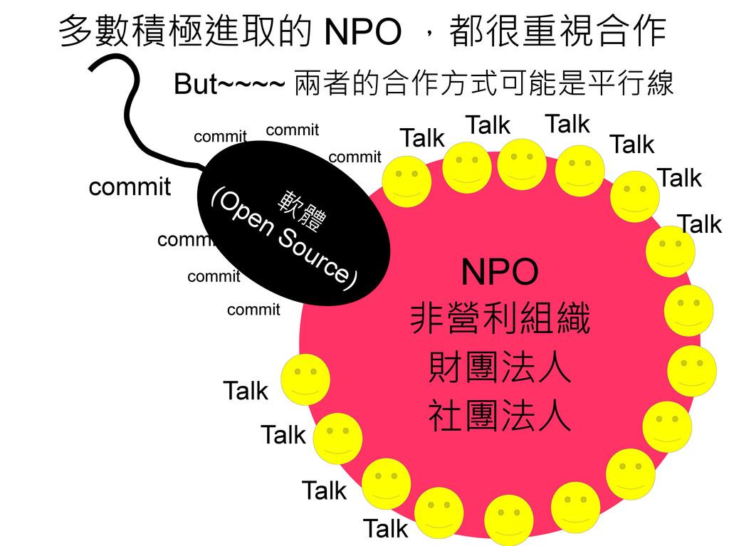 多數積極進取的 NPO ,都很重視合作 But~~~~ 兩者的合作方式可能是平行線 NPO 非...