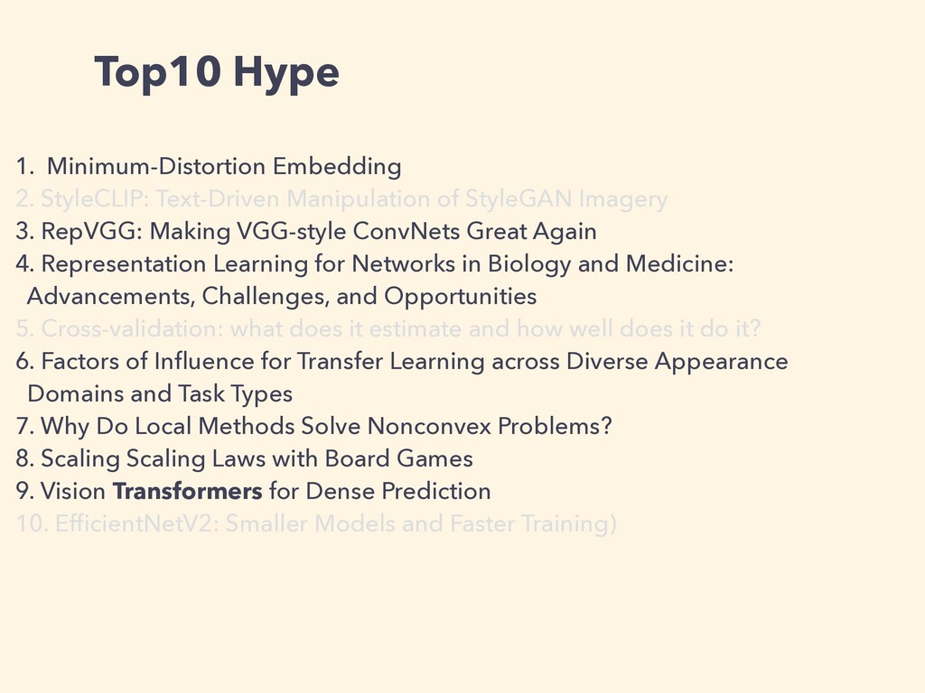 Top10 Hype 1. Minimum-Distortion Embedding   2....