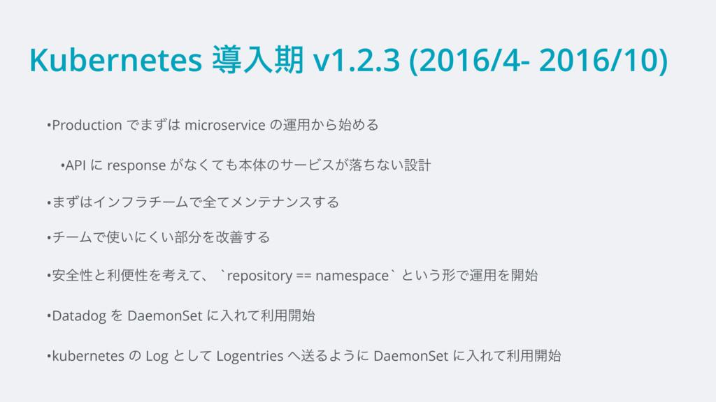 Kubernetes ಋೖظ v1.2.3 (2016/4- 2016/10) •Produc...