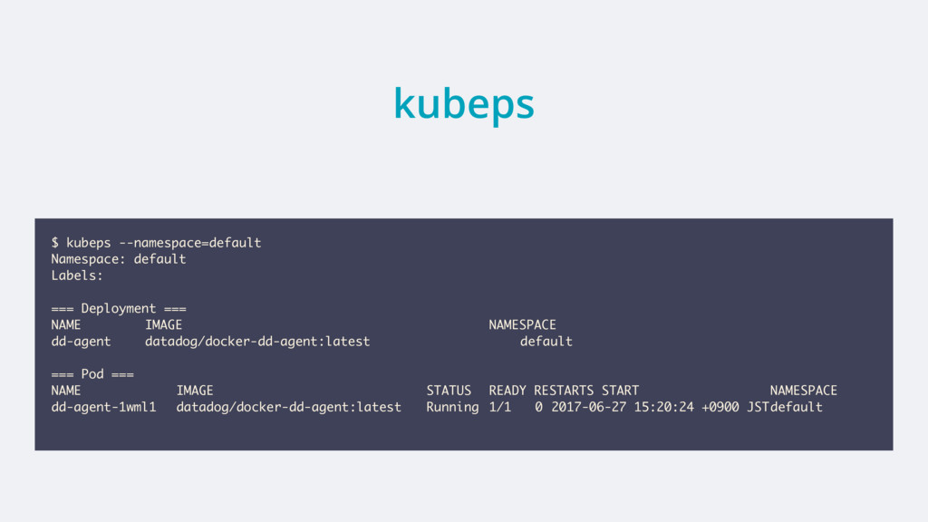 kubeps $ kubeps --namespace=default Namespace: ...