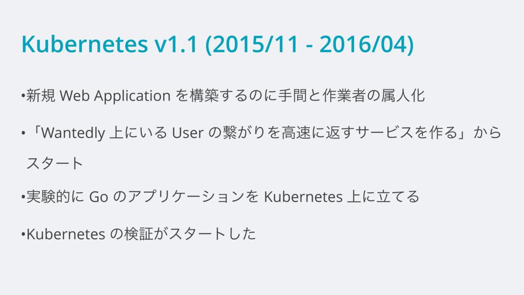 Kubernetes v1.1 (2015/11 - 2016/04) •৽ن Web App...