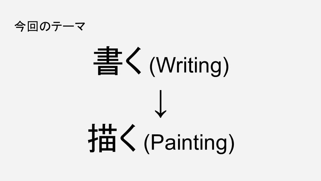 今回のテーマ 書く (Writing) ↓ 描く (Painting)