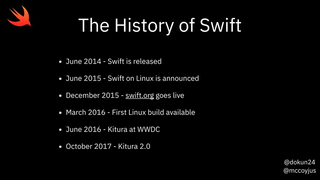 @dokun24 @mccoyjus The History of Swift • June ...