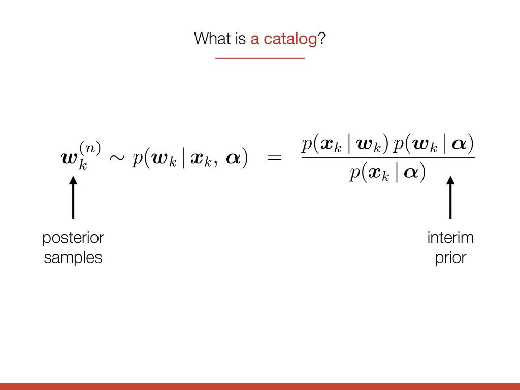 What is a catalog? posterior samples interim pr...