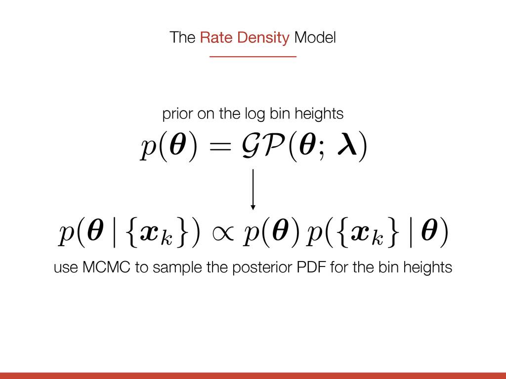 The Rate Density Model p(✓) = GP(✓; ) prior on ...