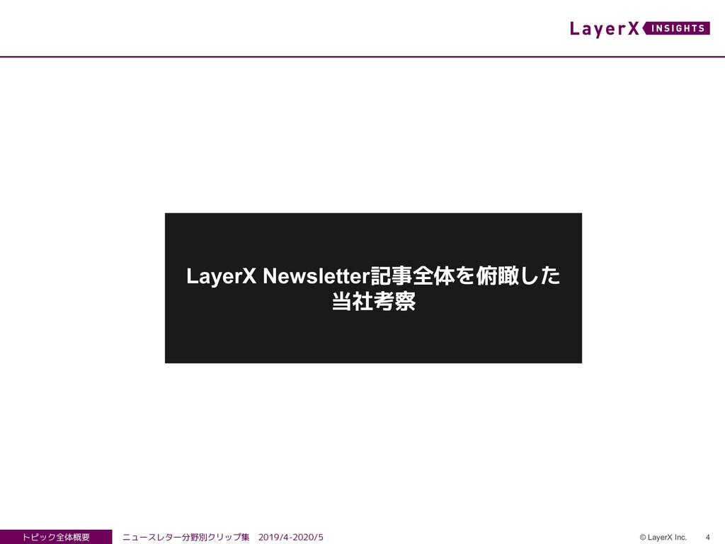 4 © LayerX Inc. トピック全体概要 ニュースレター分野別クリップ集 2019/4...