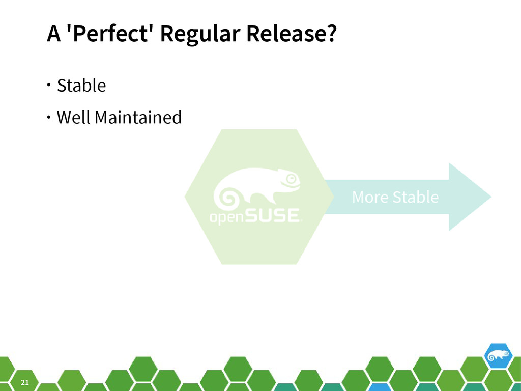 21 A 'Perfect' Regular Release? • Stable • Well...