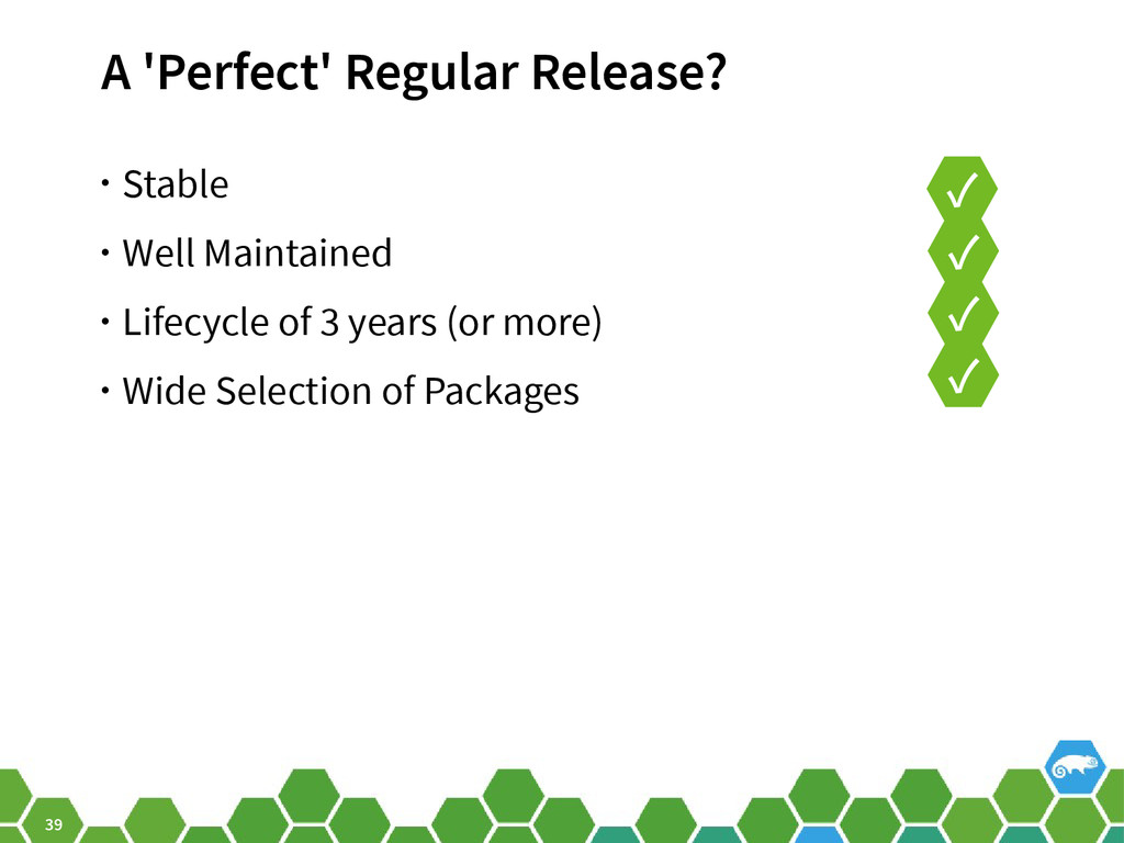 39 A 'Perfect' Regular Release? • Stable • Well...