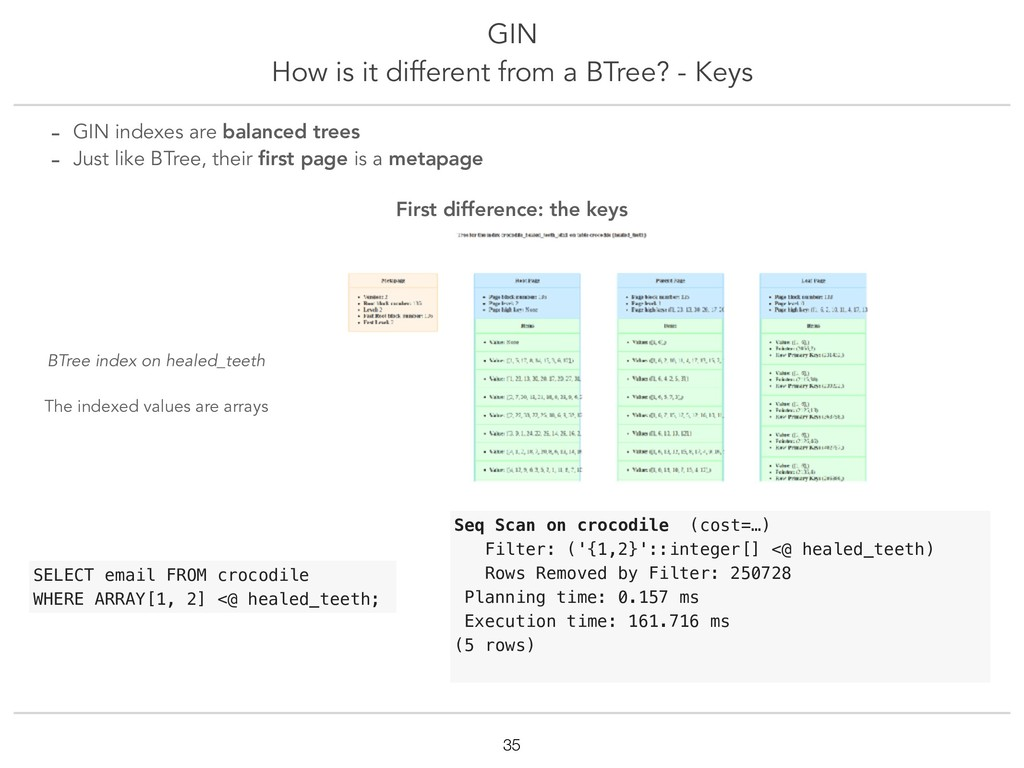 GIN How is it different from a BTree? - Keys !3...