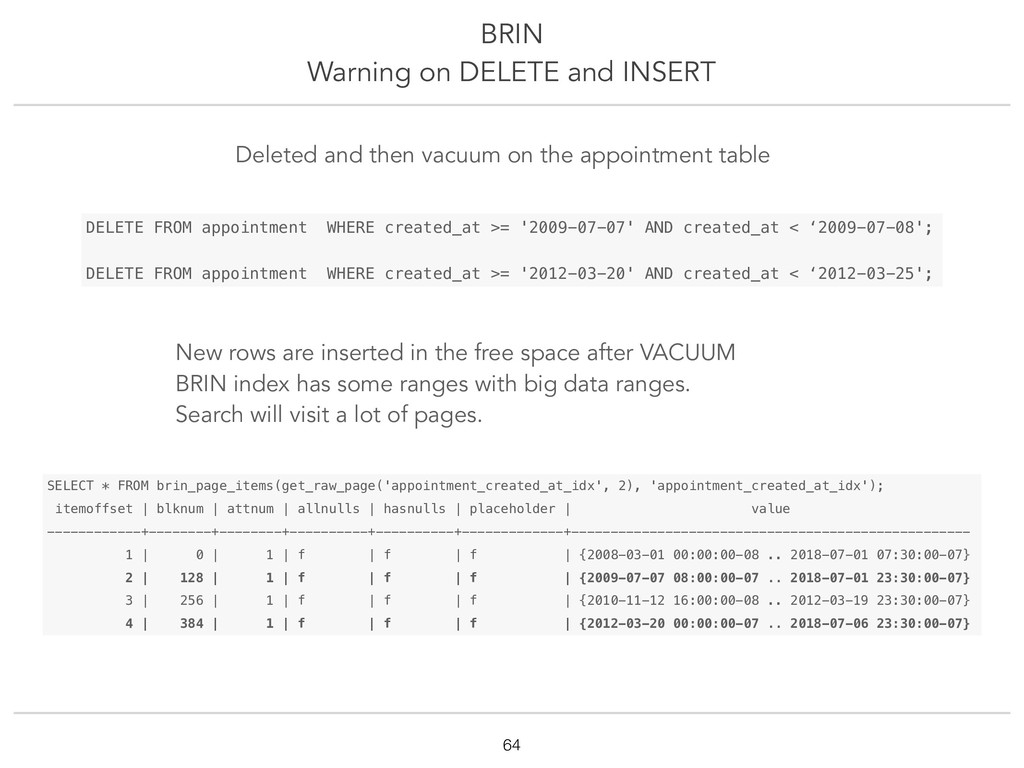 BRIN Warning on DELETE and INSERT !64 SELECT * ...