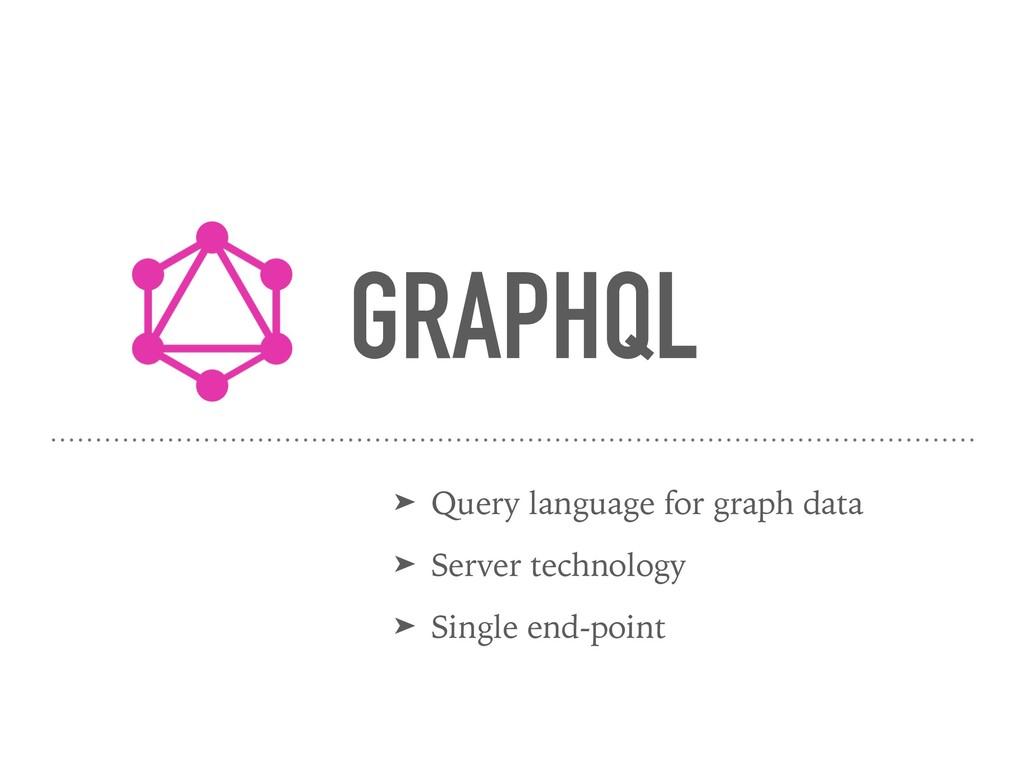 GRAPHQL ➤ Query language for graph data ➤ Serve...