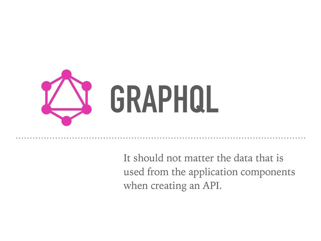 GRAPHQL It should not matter the data that is u...