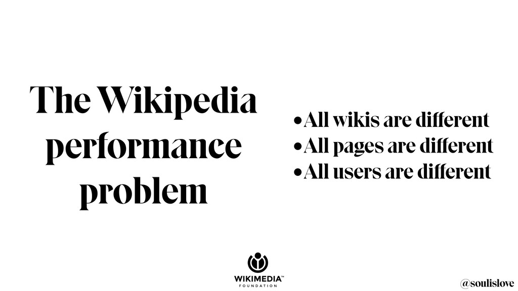 The Wikipedia performance problem @soulislove •...