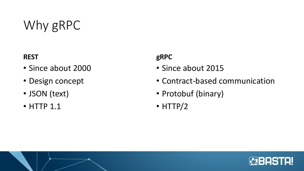 Why gRPC REST • Since about 2000 • Design conce...
